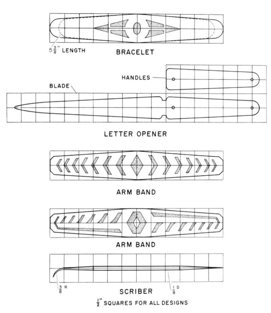 bracelet, letter opener, arm band, scriber metal shop plans