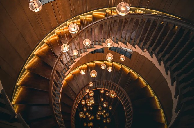 spiral staircase with wood treads