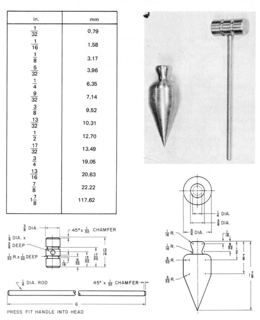 tack hammer plumb bob metal shop plans