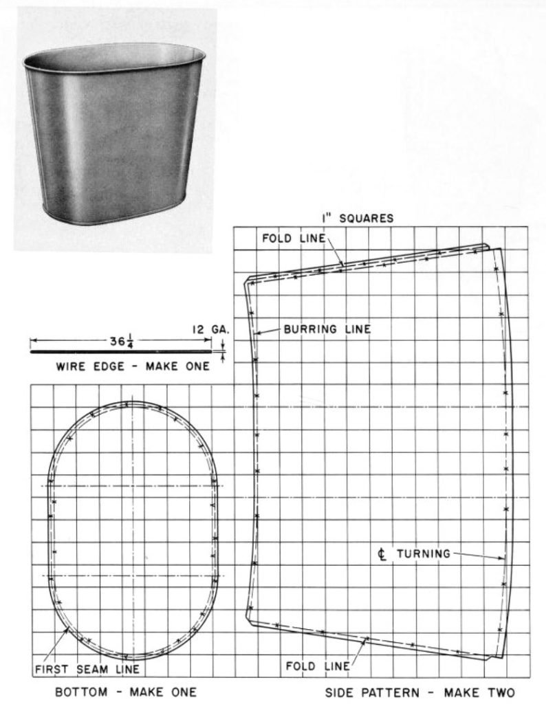 small waste basket metal plans